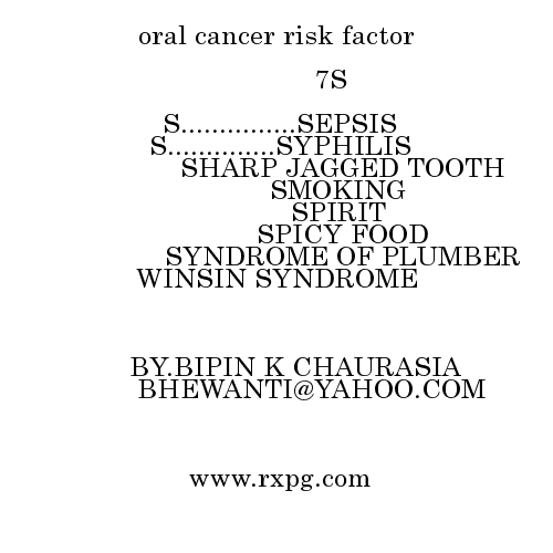 oral cancer risk factor Mnemonics