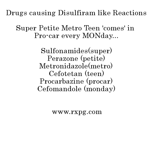 drugs causing disulfiram like reactions mnemonics